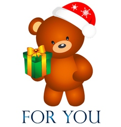 Bear with Christmas present vector image vector image