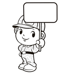 Black and white soldier mascot and picket vector