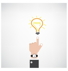 Businessman hand with doodle light bulb sign vector