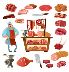 Butcher cartoon set vector