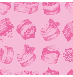 Cakes pink seamless pattern vector