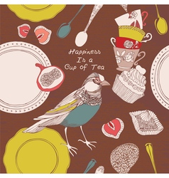 Card with cups bird and sweets vector image vector image