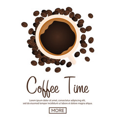 coffee banner coffee time cup grain vector image vector image