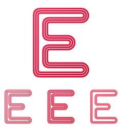 Crimson line e logo design set vector