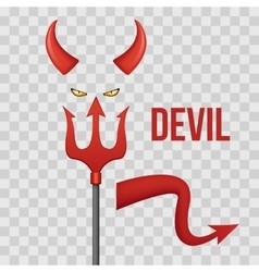 Devil horns trident eyes and tail isolated on vector