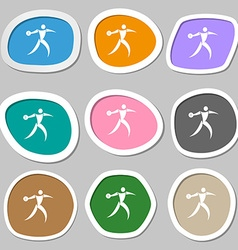 Discus thrower symbols multicolored paper stickers vector
