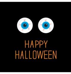 Eyeballs blue eyes happy halloween card vector