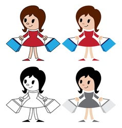 Figurines of women with packets vector
