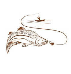 fisherman in boat and salmon vector image