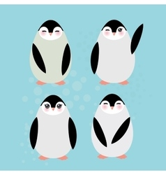 Funny penguins on blue background vector image vector image