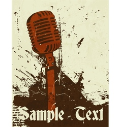 grunge concert poster with microphone vector image vector image