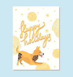 happy holidays poster with playful fox terrier vector image vector image