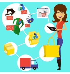 Happy woman with a bag and phone in hands vector image vector image