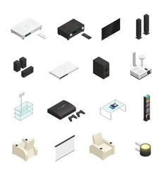 Home theater isometric icons vector