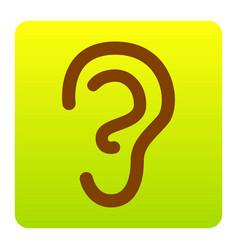 human ear sign brown icon at green-yellow vector image