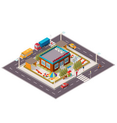 isometric of kindergarten vector image