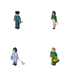 Isometric person set of officer housemaid vector