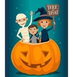 Kids in Halloween costumes vector image