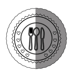 Monochrome sticker round frame with cutlery set vector