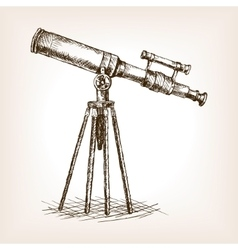 Old telescope hand drawn sketch vector