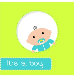Peek-a-boo baby shower card Its a boy vector image vector image
