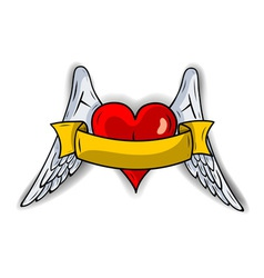 red heart with the wings vector image