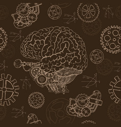 seamless background with human brain vector image vector image