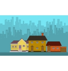 Silhouette of city with house flat vector