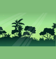 Silhouette of jungle on green background scenery vector