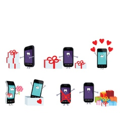 smartphones in a gift vector image