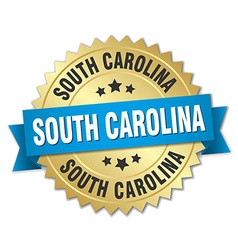 South carolina round golden badge with blue ribbon vector