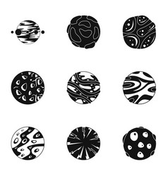 Space planet icons set simple style vector