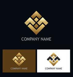 square shape gold business logo vector image