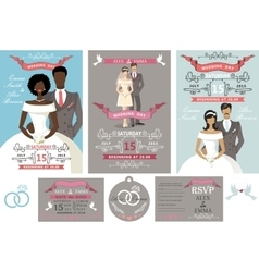 Wedding invitations setDifferent bride and groom vector image vector image
