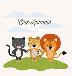 White background with color scene cat tiger and vector