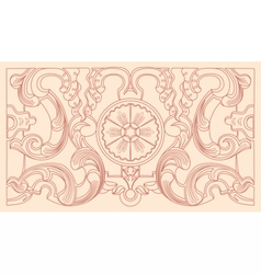 Vintage baroque geometry floral ornament vector