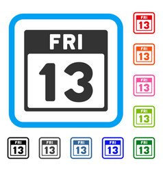 13 friday calendar page framed icon vector