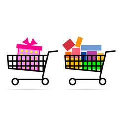 Gift box in shopping basket vector