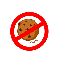 Stop cookies it is forbidden to eat crumbs red vector