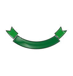 green ribbon banner empty decoration icon vector image
