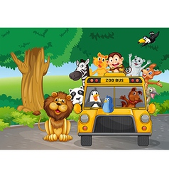 A zoo bus full of animals vector