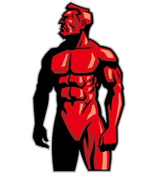 Muscle man mascot standing vector
