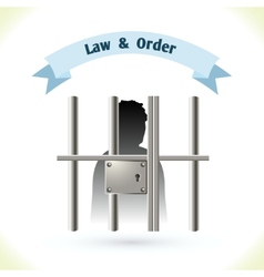 Law icon prisoner in jail vector