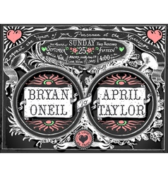Vintage wedding invite on blackboard vector