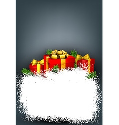 Snow frame with red gift boxes vector