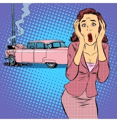 Female driver car accident vector image