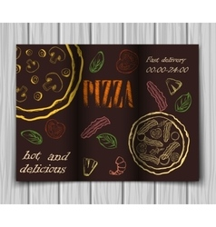 Pizza food menu cafe brochure vector