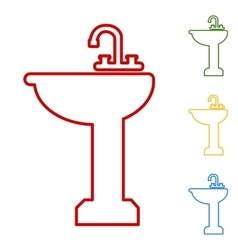 Bathroom sink set of line icons vector