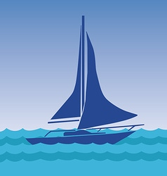 Sailing boat with deflated sails in the sea vector