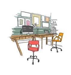 Sketch interior design comfortable workplace vector